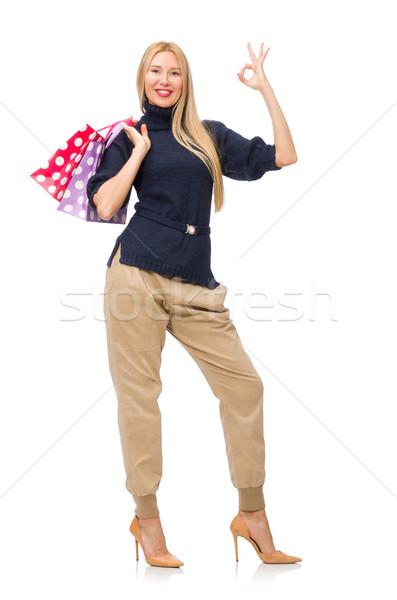 Gyönyörű nő lezser stílus izolált fehér nő Stock fotó © Elnur