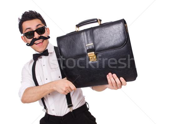 Jonge man aktetas geïsoleerd witte business man Stockfoto © Elnur