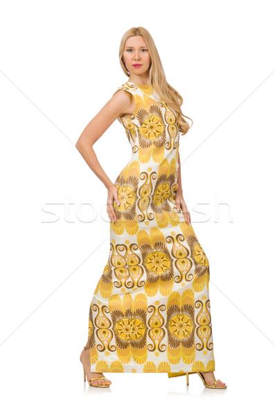 Stockfoto: Jonge · vrouw · lang · zomer · jurk · geïsoleerd