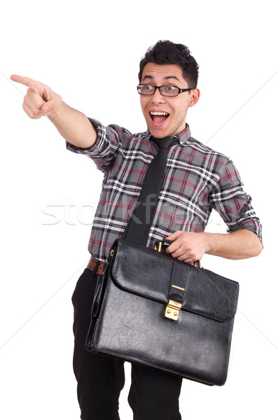 Young employee with backpack isolated on white Stock photo © Elnur