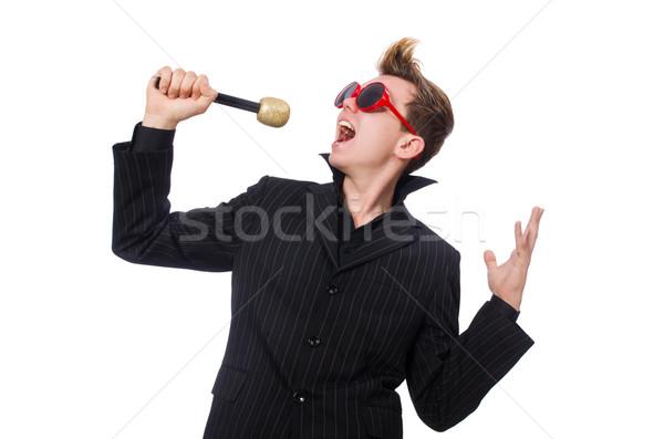 śpiewu człowiek karaoke strony włosy tle Zdjęcia stock © Elnur
