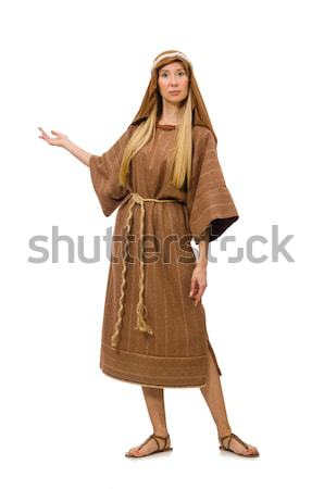 Woman wearing medieval arab clothing on white Stock photo © Elnur