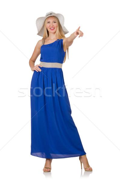 Mooie vrouw lang Blauw jurk geïsoleerd witte Stockfoto © Elnur