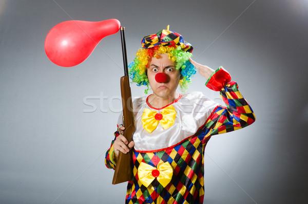Zdjęcia stock: Clown · balon · karabin · funny · działalności · strony