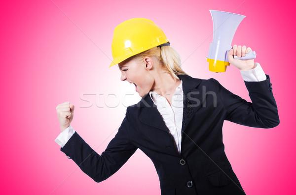 Női építőmunkás hangfal üzlet nő építkezés Stock fotó © Elnur