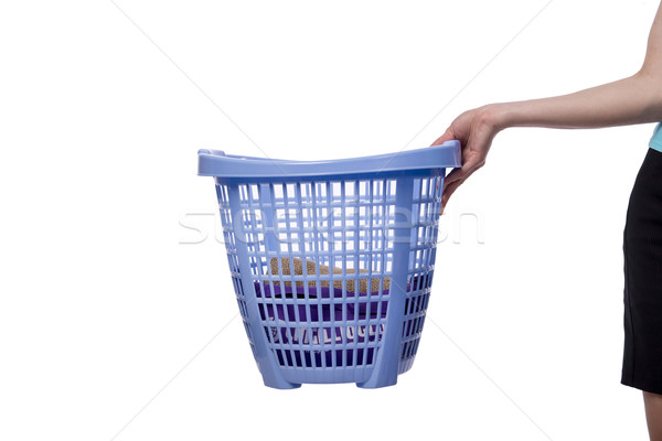 Hands holding the basket with dirty laundry Stock photo © Elnur