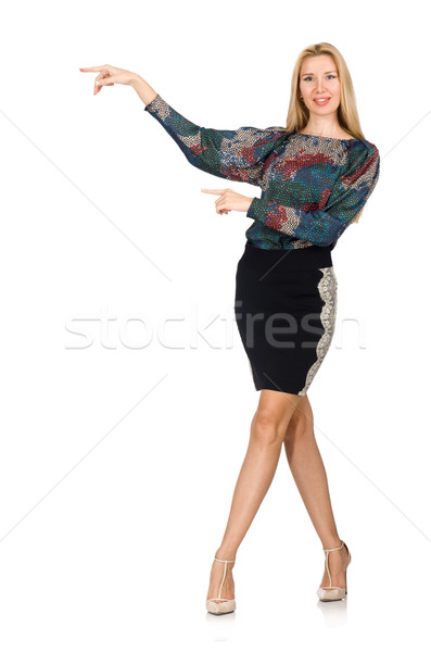 Tall model in black skirt isolated on white Stock photo © Elnur
