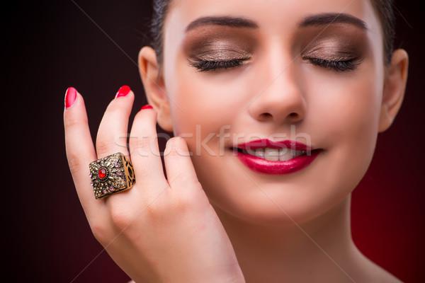 Kadın güzel halka güzellik kız yüz Stok fotoğraf © Elnur
