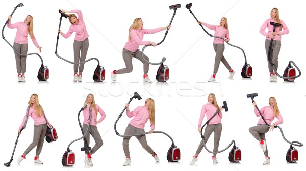 Young woman with vacuum cleaner on white Stock photo © Elnur