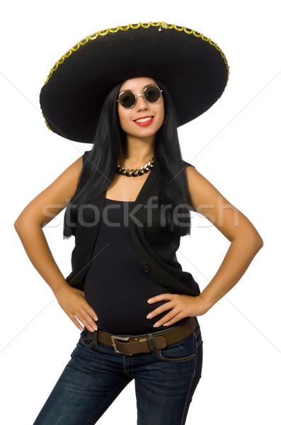Genç Meksika kadın geniş kenarlı şapka yalıtılmış Stok fotoğraf © Elnur