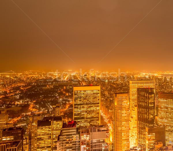 Stock fotó: Kilátás · új · Manhattan · naplemente · üzlet · égbolt