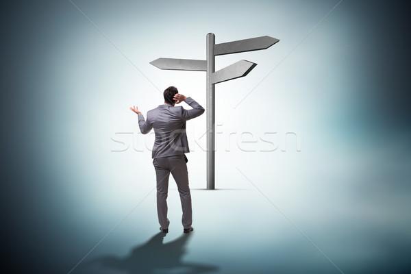 Foto stock: Empresário · difícil · escolha · estrada · trabalho · sucesso