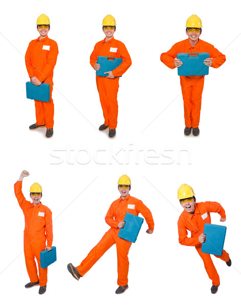 The man in orange coveralls isolated on white Stock photo © Elnur