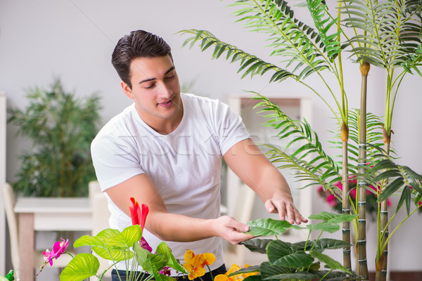 Young man in gardening concept at home Stock photo © Elnur