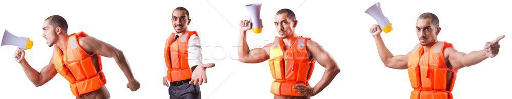 Uomo indossare gilet altoparlante sfondo imprenditore Foto d'archivio © Elnur