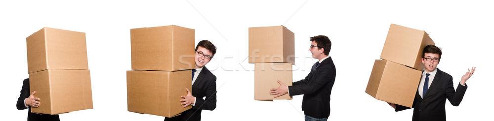 Stockfoto: Grappig · man · dozen · geïsoleerd · witte · business