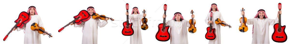 Arab musician with violin and guitar isolated on white Stock photo © Elnur