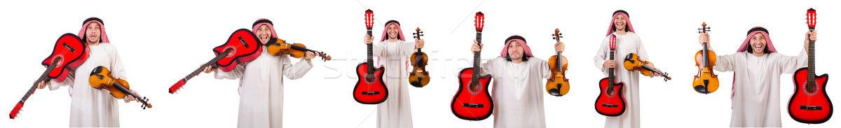 арабских музыканта скрипки гитаре изолированный белый Сток-фото © Elnur