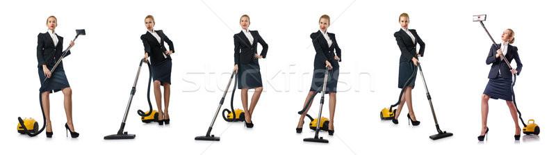 Stockfoto: Zakenvrouw · schoonmaken · stofzuiger · witte · huis · werk