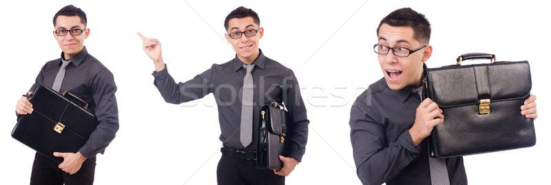 молодым человеком портфель изолированный белый бизнеса Сток-фото © Elnur