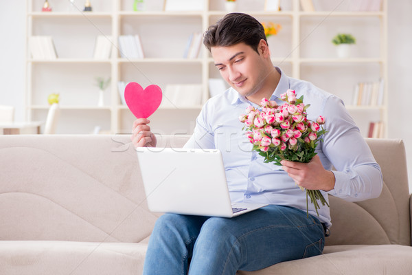 Joven matrimonio propuesta Internet portátil Foto stock © Elnur