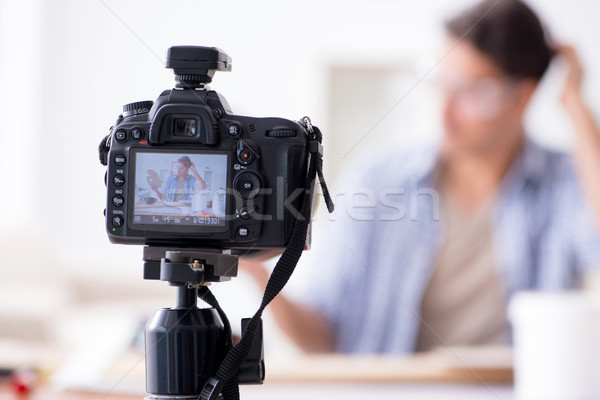 DIY blogger recording video of woorworking hobby Stock photo © Elnur