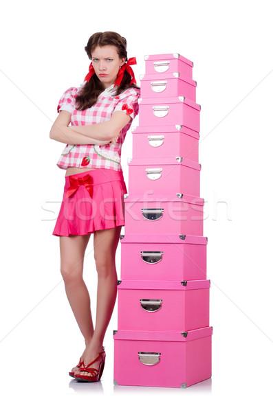 Stoccaggio scatole bianco donna party Foto d'archivio © Elnur