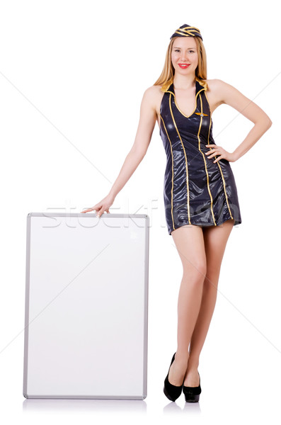 Tall airhostess with blank board on white Stock photo © Elnur