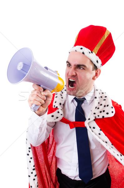 Koning zakenman luidspreker geïsoleerd witte man Stockfoto © Elnur