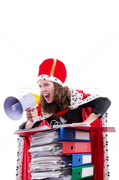 Frau Königin funny Arbeit Geschäftsmann Lautsprecher Stock foto © Elnur