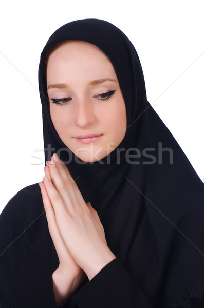 Young muslim woman praying isolated on white Stock photo © Elnur