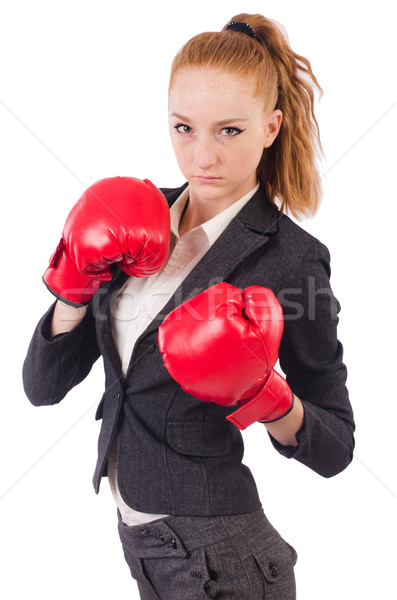Woman businesswoman with boxing gloves on white Stock photo © Elnur