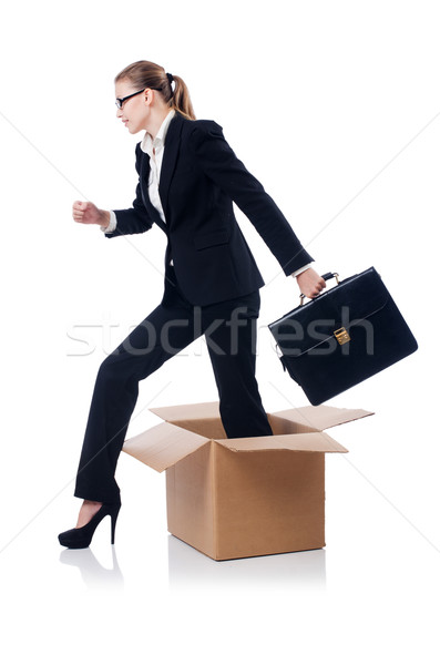 Woman in thinking out of box concept Stock photo © Elnur