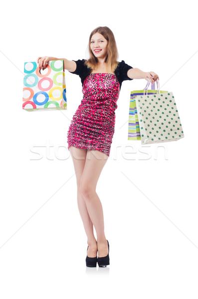Stok fotoğraf: Genç · kız · iyi · alışveriş · beyaz · kadın · mutlu