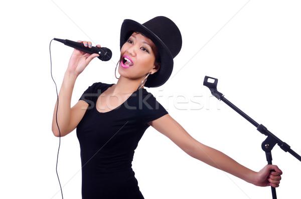 Femminile cantante isolato bianco party sfondo Foto d'archivio © Elnur