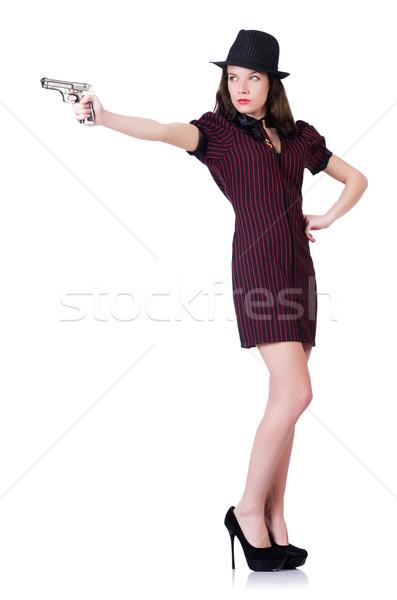 Donna gangster pistola bianco sexy modello Foto d'archivio © Elnur