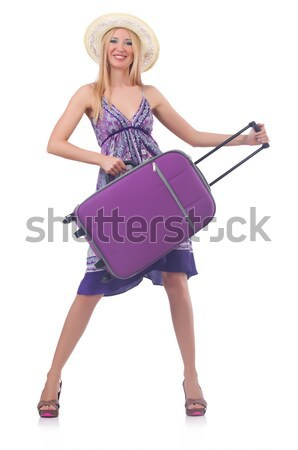 Woman preparing for vacation with suitcase  pressing virtual but Stock photo © Elnur