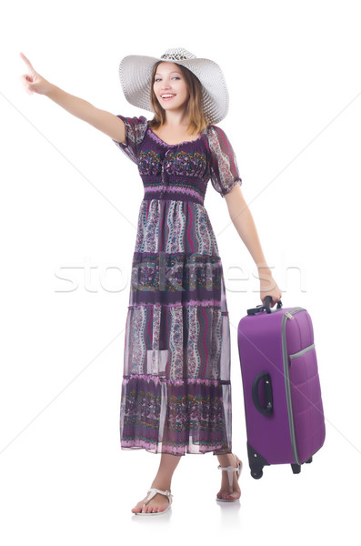 женщину Панама чемодан путешествия виртуальный Сток-фото © Elnur