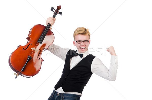 смешные человека скрипки белый звук мужчины Сток-фото © Elnur