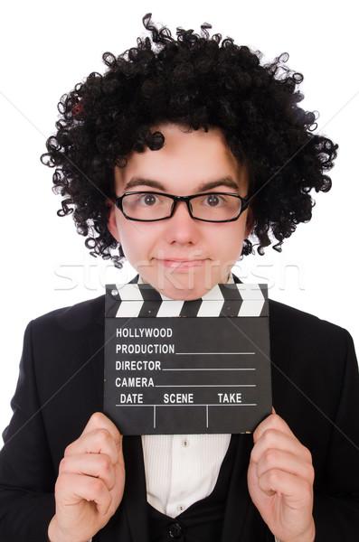 Engraçado filme diretor isolado branco mão Foto stock © Elnur