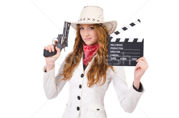Young   cowgirl with gun  and movie board  isolated on white Stock photo © Elnur