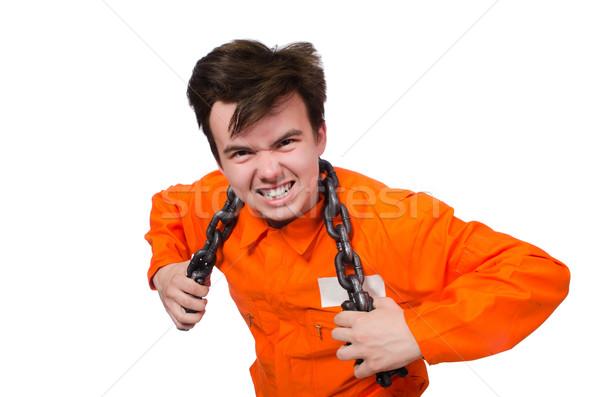ストックフォト: 小さな · 受刑者 · チェーン · 孤立した · 白 · 法