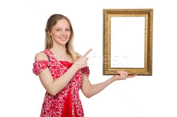 Foto stock: Mulher · quadro · de · imagem · isolado · branco · menina