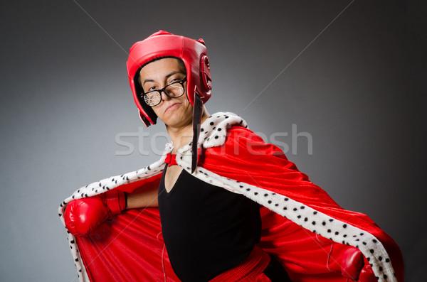 Funny boxeador rojo guantes oscuro mano Foto stock © Elnur