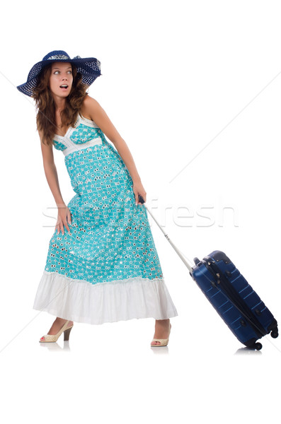 Young woman with suitcase isolated on white Stock photo © Elnur