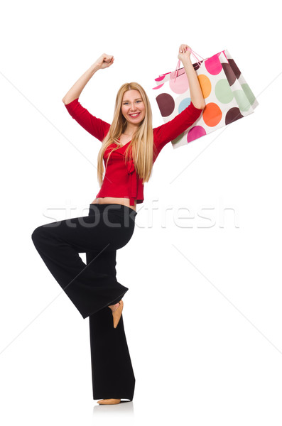 Genç kadın pantolon yalıtılmış beyaz mutlu moda Stok fotoğraf © Elnur