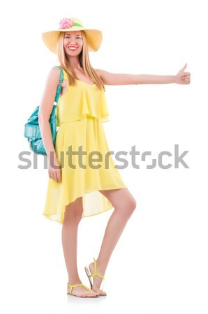 Pretty tall woman in yellow dress isolated on white Stock photo © Elnur