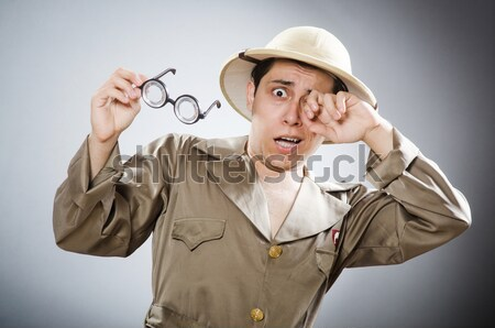 Funny Safari Jäger Hintergrund gun Person Stock foto © Elnur