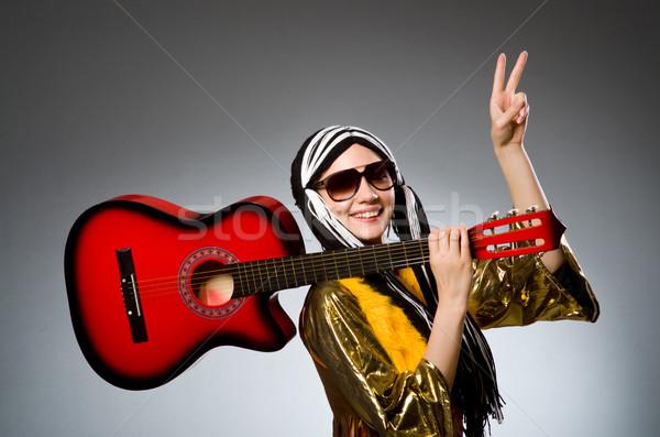 Gitáros piros hangszer zene buli háttér Stock fotó © Elnur