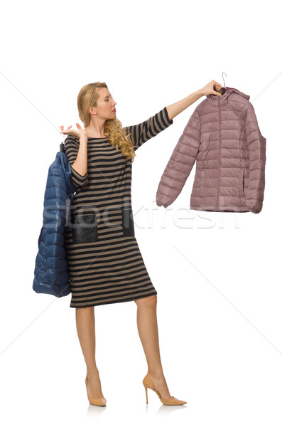 Pretty woman in winter lilac jacket isolated on white Stock photo © Elnur